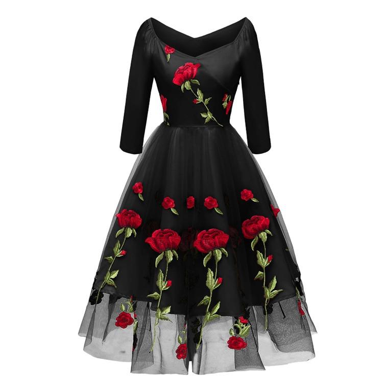V-neck Off-shoulder Black Ivory Embroidery Cocktail Dresses Long Sleeve Robe Flowers Elegant Party 2019 Homecoming Dress