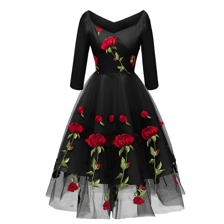V-neck Off-shoulder Black Ivory Embroidery   Cocktail     Dresses   Long Sleeve Robe Flowers elegant party 2019 Homecoming   Dress