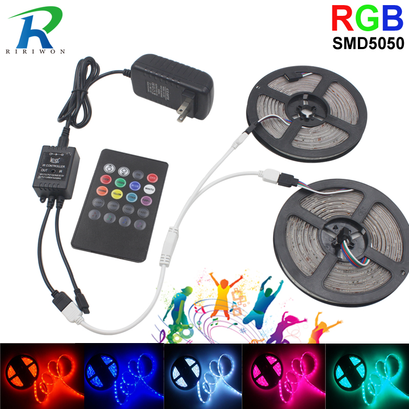 цена на RGB led strip light 10M Waterproof SMD5050 Diode Tape Flexible led Ribbon With Music Remote Controller DC12V EU Power Adapter