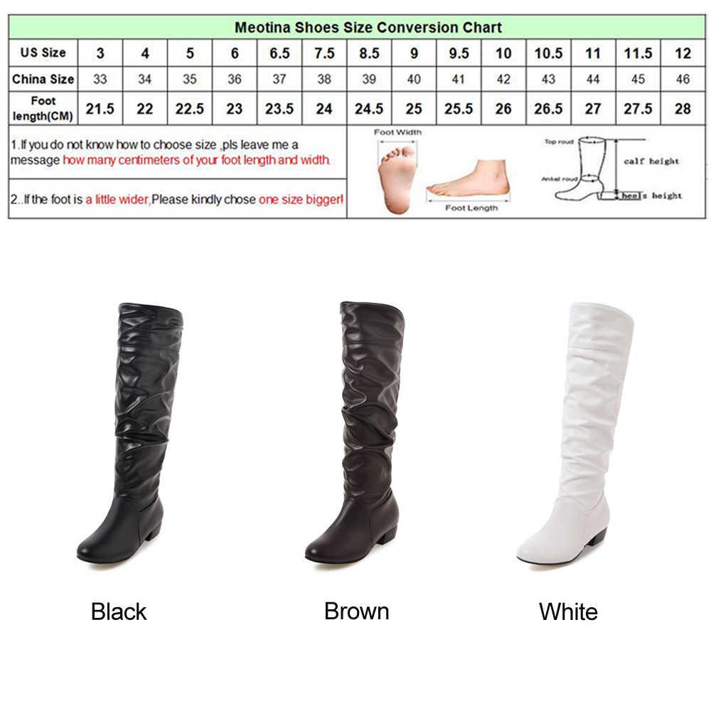 Meotina 2018 Kış Diz Yüksek Çizmeler Kadın Çizmeler Düşük Topuklu Kış Ayakkabı Pileli Siyah Bayan Ayakkabıları Sonbahar Artı Beyaz Boyutu 34-46 45