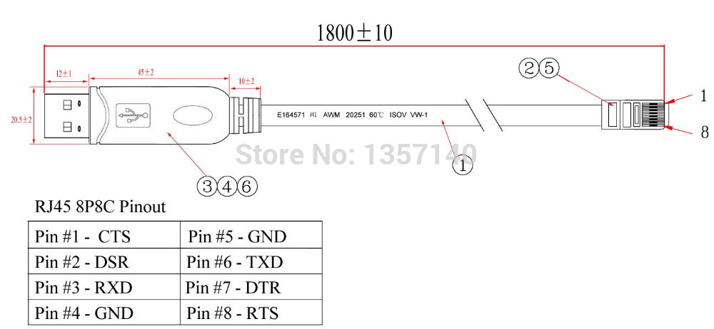 1 8m ftdi chip usb to rs232 console rollover cable rj45 8p8c in rh aliexpress com