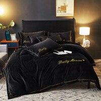 Серый черный роскошный флисовый наборы постельного белья из ткани queen King size Вышивка кровать пододеяльник постельное белье Комплект белья