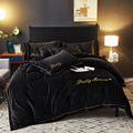 Gray black Luxury Fleece fabric Bedding sets Queen King size Embroidery Bed Duvet cover Bed sheets linen set|Bedding Sets| |  -