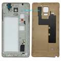 Gold Original Metal Middle Frame Housing Bezel With Battery Back Door Rear Cover For Samsung Galaxy Note 4 N910 N910A N910F