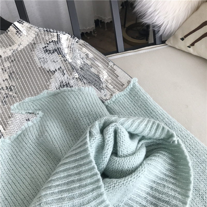 De Femmes Nouveau Chandail Coréenne Patchwork Gy201865 Gruiiceen Sequin Top Mince Mohair Mode Pulls XvqFa