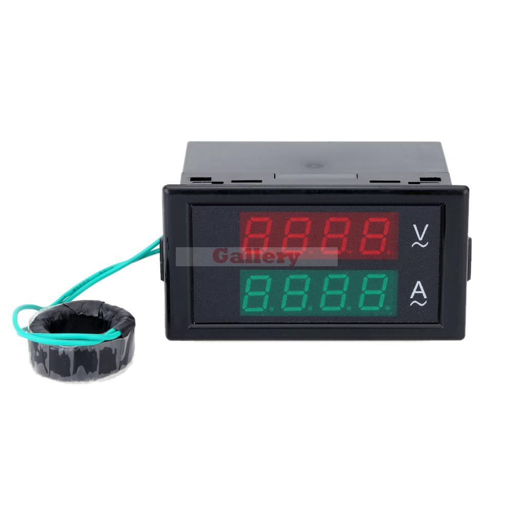 ac digital ammeter voltmeter dual lcd panel amp volt. Black Bedroom Furniture Sets. Home Design Ideas
