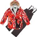 Зима Детская Одежда Устанавливает Ветрозащитный Открытый Мальчики Лыжная Куртка + Биб Брюки 2 шт. Набор Мальчиков Лыжный Костюм 7-16Y