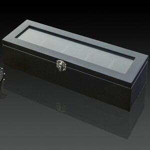 Image 4 - أعلى 5 فتحات ساعة عرض خشبية حالة خشب أسود صندوق لتخزين ساعات اليد مع قفل ساعة خشبية أنيقة هدية مجوهرات حالات C023