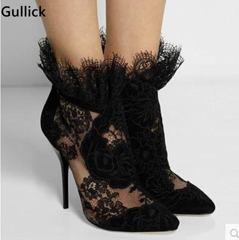 Elegante Caliente Noble Barato Manera Punta Negro Partido out Precio Cut up Nueva Zapatos Magnífico En Más As Mujeres Picture Lujo Lace Venta 8wqZg6