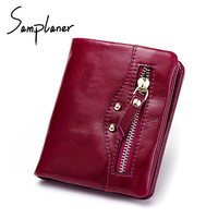 Samplaner Retro Short Women Wallet Locomotive Genuine Leather Female Purses Small Real Leather Rfid Ladies Wallets