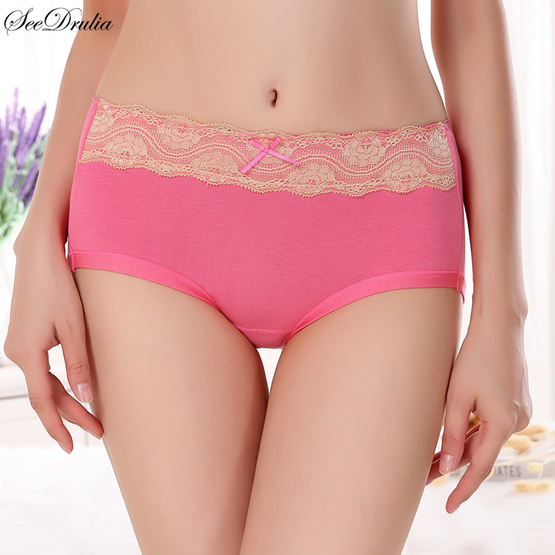 SEEDRULIA Brand Sexy Woman Underwear Women's Lace Cotton Briefs Solid Cute Bow Mid-Rise Sexy Ladies Girls   Panties   Lingerie