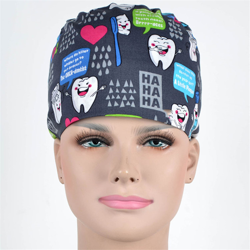 Medical Dentists Cap Scrub Surgical Hats In Gray Brush Teeth For Women And Men Ultra Soft 100% Cotton Back Ties With Elastics