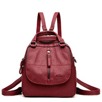 Multifunctional Women Backpack Female Leather Backpack Small Mochila Feminina School Backpacks for Teenage Girls Bag Sac A Dos