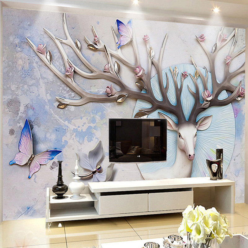 Custom Mural Wallpaper Abstract 3D Deer Embossed Deer Mural Modern Living Room Sofa TV Background Wall Decoration 3D Wallpaper