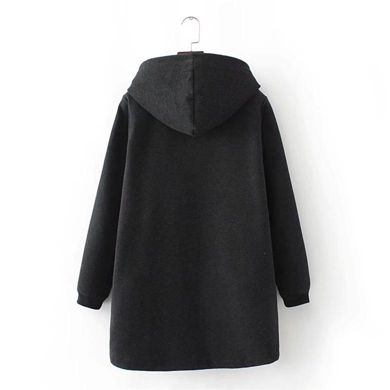 Ispessimento Warming Zip Inverno Moda Più Nero Cotone Felpe grigio Casual Formato Di Lungo Delle Il Del Autunno E Donne Grande up gwnqOWp7