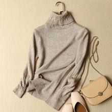 2018 Korean Autumn and Winter Women Sweater Long Sleeve Turtleneck Knitted Pullover white Green Warm Thicken Female Jumper Top(China)