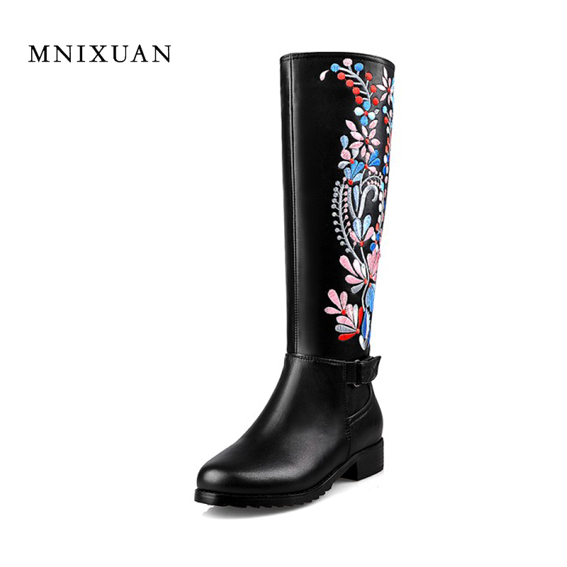 Handmade chinese embroidery shoe women knee high boots medium square heel genuine leather ethnic boots big plus size 40 41 42 43 100 super cute little embroidery chinese embroidery handmade art design book