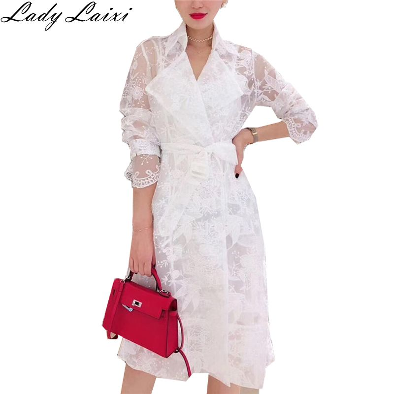 New Lace   Trench   Coat For Women Long Sleeve Notched Collar Belted Flower Embroidery Long Cardigans Casual   Trench   Coat
