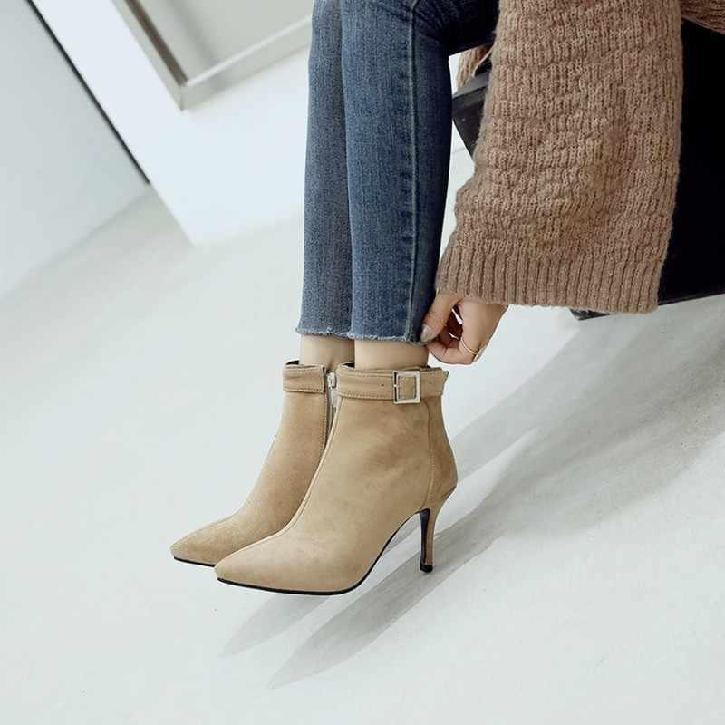 Vrouwen Laarzen Herfst Winter Hoge Hak Warm Flock Zip Puntschoen Enkel Basic Chelsea Schoenen 2018 Nieuwe Sexy Mode Zwart bruin Roze