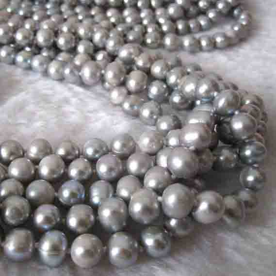 New Arriver Gray Pearl Jewellery,5 Strands 64 7-8mm Freshwater Pearl Necklace,No Clasp Long Pearl Necklace,Fashion Women GiftNew Arriver Gray Pearl Jewellery,5 Strands 64 7-8mm Freshwater Pearl Necklace,No Clasp Long Pearl Necklace,Fashion Women Gift