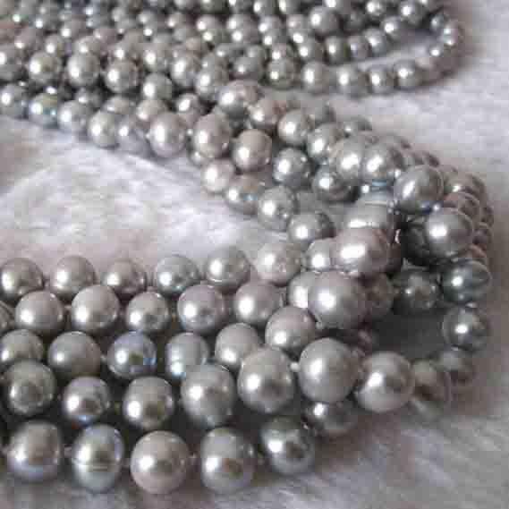 Nouveau Arriver gris perle bijoux, 5 brins 64 ''7-8mm collier de perles d'eau douce, pas de fermoir Long collier de perles, cadeau de mode femmes