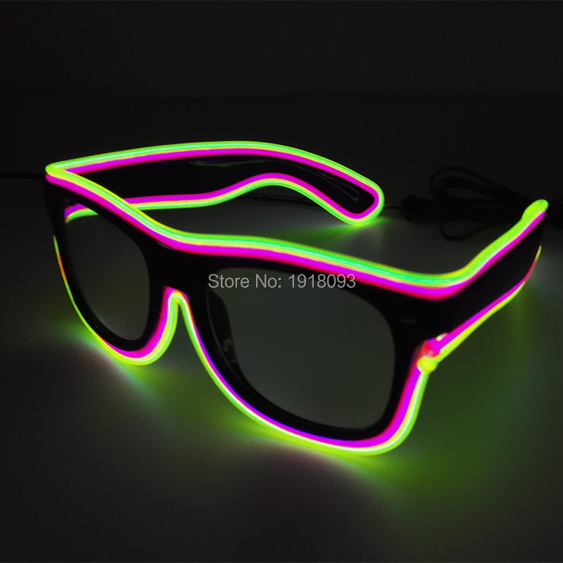 New Design Bright Glasses 5 Style Blinking EL Wire Glasses Novelty LED Neon Rope Flashlight For Halloween,Cosplay Party