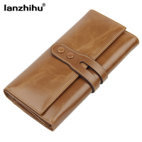 2015 High Quality 100 Genuine Leather Wallet Oil Wax Cowhide Women S Wallets Clutch Long Design