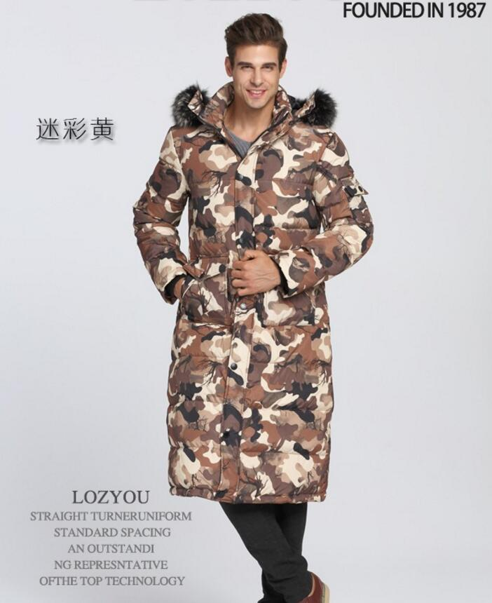 90% White duck down Men Long down jacket - 40 degrees Warm coat Real Fur Collar Thick Men's Winter coats