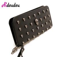 2018 Rock Women Wallets Metal Skull Wallet Card Purse PU Leather Black Purse Wristlet Portefeuille Handbags