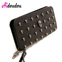 2018 Rock Women Wallets Metal Skull Wallet Card Purse PU Leather Black Purse Wristlet Portefeuille Handbags