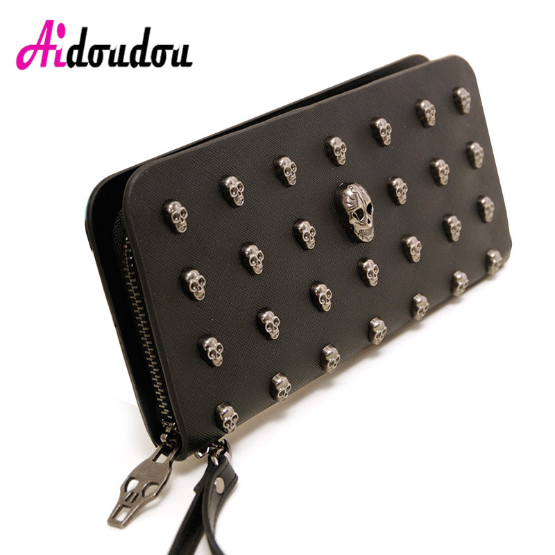 2018 Rock Women Wallets Metal Skull Wallet Card Purse PU Leather Black Purse Wristlet Portefeuille Handbags Carteira Feminina