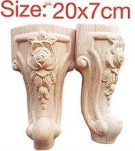 4PCS/LOT  Size:20x7CM  European Style Furniture Accessories Wood Carved Flower TV Cabinet  Foot Bathroom Cabinet Legs недорого