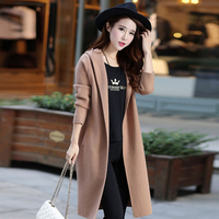 Real Cashmere Knitted Long Coat Genuine Wool Sweater Warm Custom Big Size Long Hooded Cardigans Top