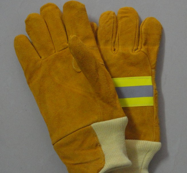 Free shipping hot selling cow split leather gloves safety protecting gloves stripe cloth red