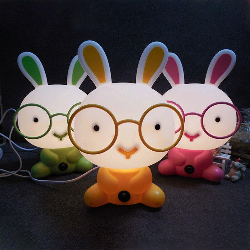 Us / Eu Plug Desk Night Lights Baby Room Panda/Rabbit/Dog/Bear Cartoon Bulb Night Light Kids Bed Lamp Sleeping Night Table Lamp