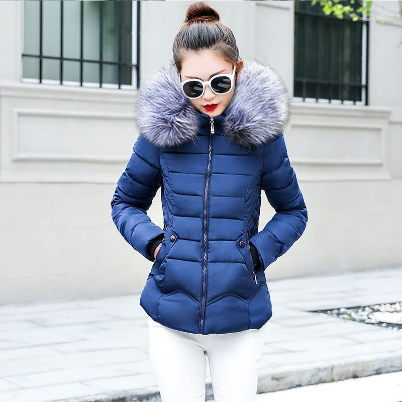 Female Autumn Winter Jacket 2018 Fashion Women Parka Hooded Fake silver Fur collar Down Cotton Coat Female slim Winter Coat