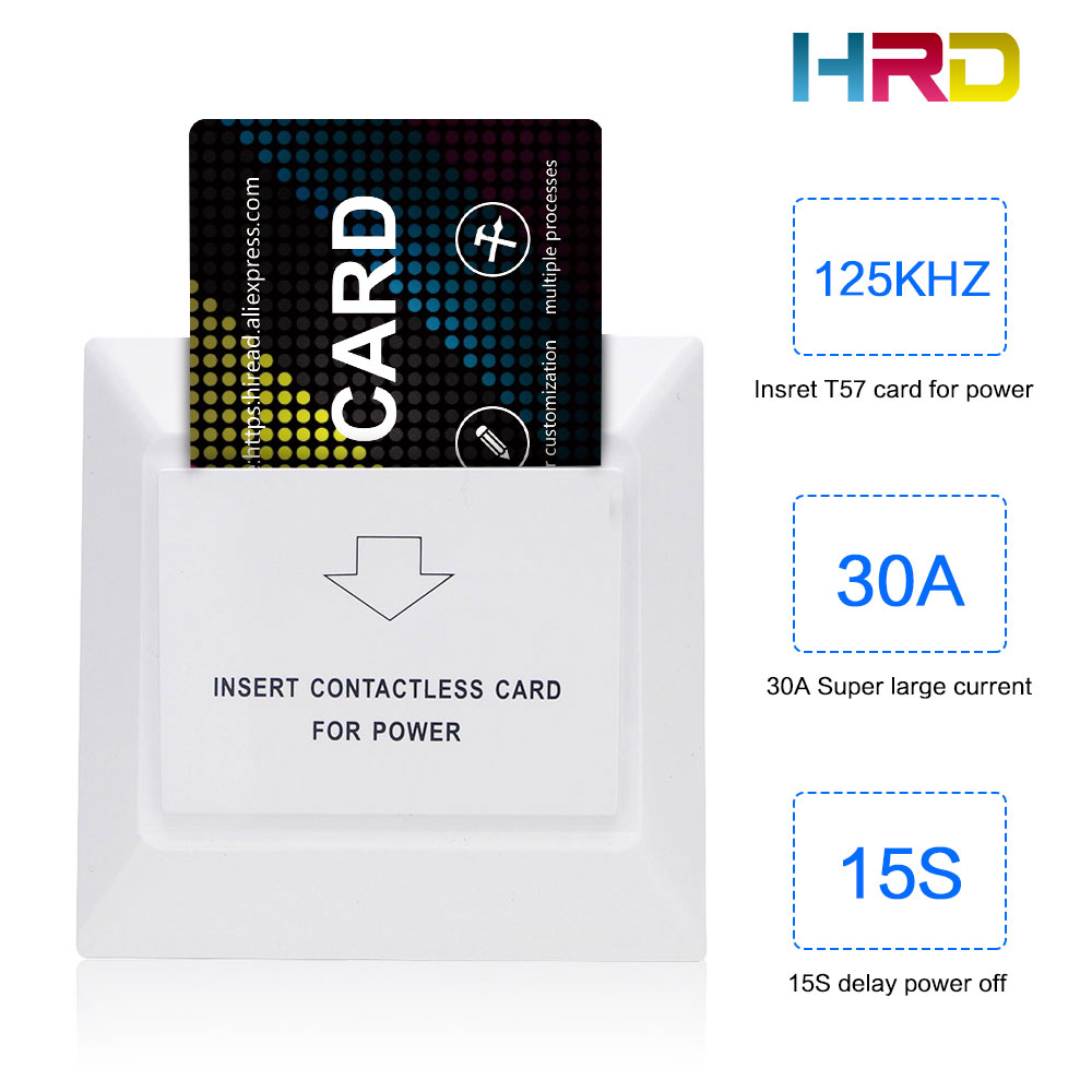 Reliable Hiread 125khz Insert Rfid Wall Energy Saving Hotle Key Switch With T5577 Card 30a 220v Electronic Induction Switch Security & Protection Access Control