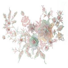 1pc 3D Floral Embroidery Applique Beaded Pearl Tulle DIY Wedding Dress Sewing Clothing Lace Costumes Decoration Patch