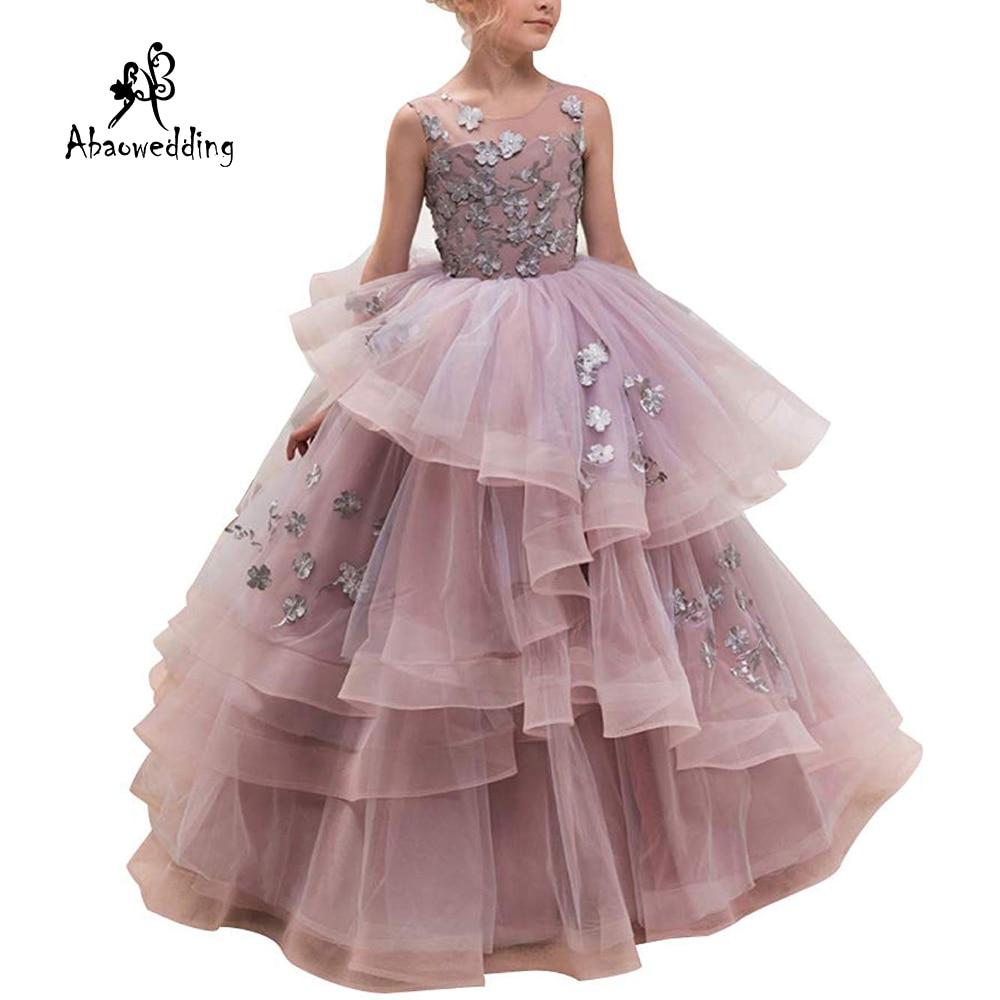 New Hot Girls Tulle O-neck Sleeveless Flowers Ball Gowns Floor Length Elegant Girls Princess Dress Birthday Party Wedding Gowns