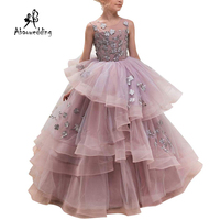 New Hot Girls Tulle O neck Sleeveless Flowers Ball Gowns Floor Length Elegant Girls Princess Dress Birthday Party Wedding Gowns