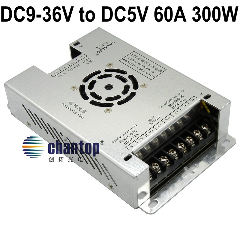 DC9V~36V to DC 5V 60A 300W led sign power supply Bus / car / taxi switching Power inverter DC-DC transformer converter
