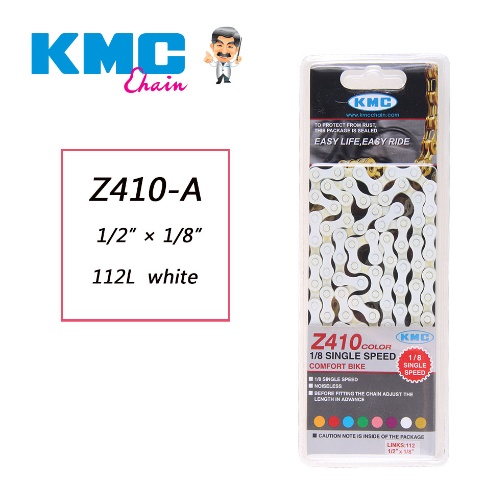KMC Z410 Bicycle Bike Chain 1-Speed 1//2 x 1//8-Inch 112L White