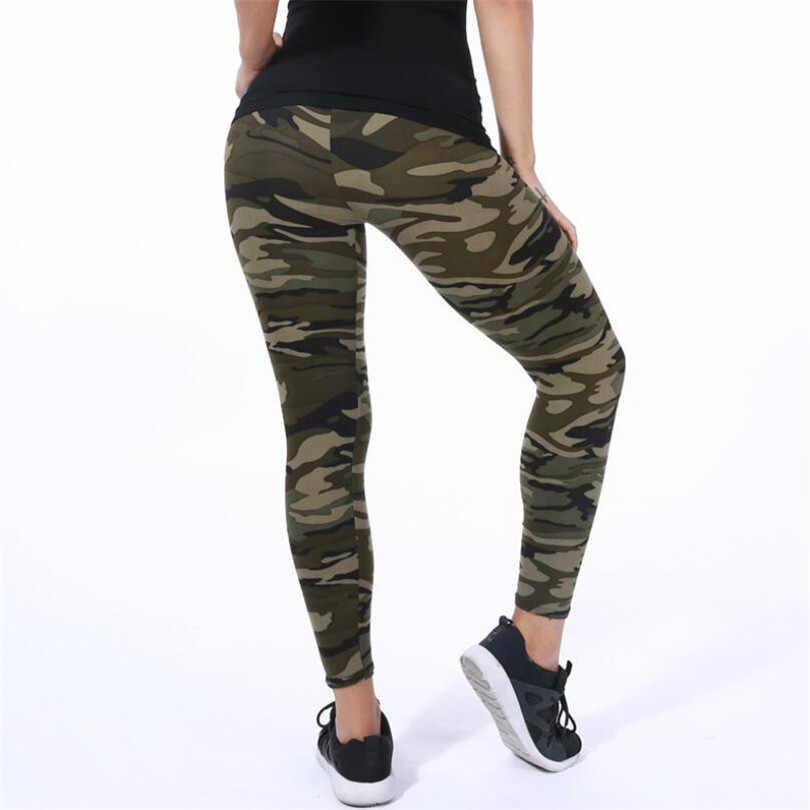 Ysdnchi 2020 Kamuflase Wanita untuk Leggins Gaya Grafiti Slim Stretch Celana Hijau Tentara Legging Olahraga Celana K085