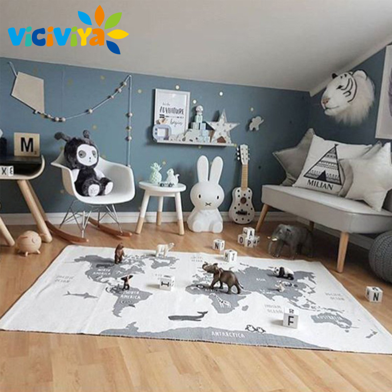 Adventure World Map Floor Carpet Racing Game Pad Kids Playmats Baby Kids Crawling Blanket Infant Room Decor Gym Play Mat^ learning carpets us map carpet lc 201