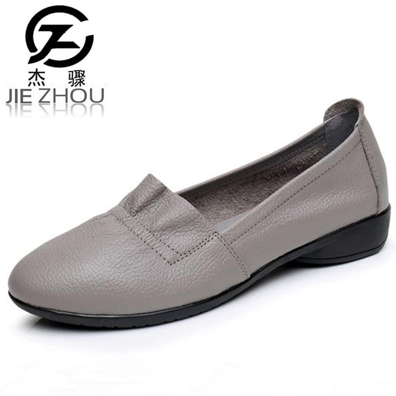 все цены на 2017 new Genuine leather mother shoes soft bottom shallow mouth Flats Large size casual elderly shoes spring autumn Women Shoes