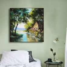 Laeacco Canvas Calligraphy Painting Spring Rural Trees River House Posters and Prints Wall Art Pictures Living Room Home Decor