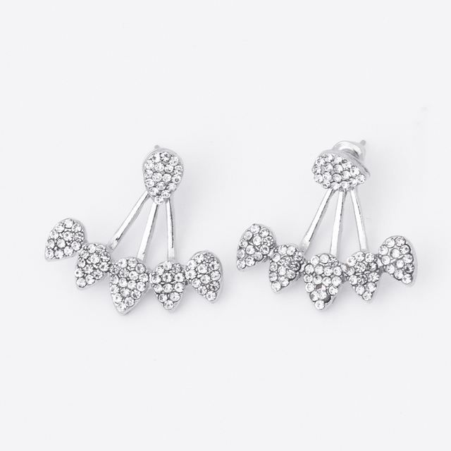 Tomtosh 2017 New Hot Drop Crystals Stud Earring for Women gold color Double Sided Fashion Jewelry Earrings female Ear brincos