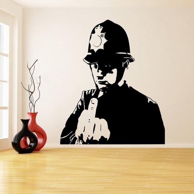 banksy policeman graffiti vinyl wall sticker police middle finger