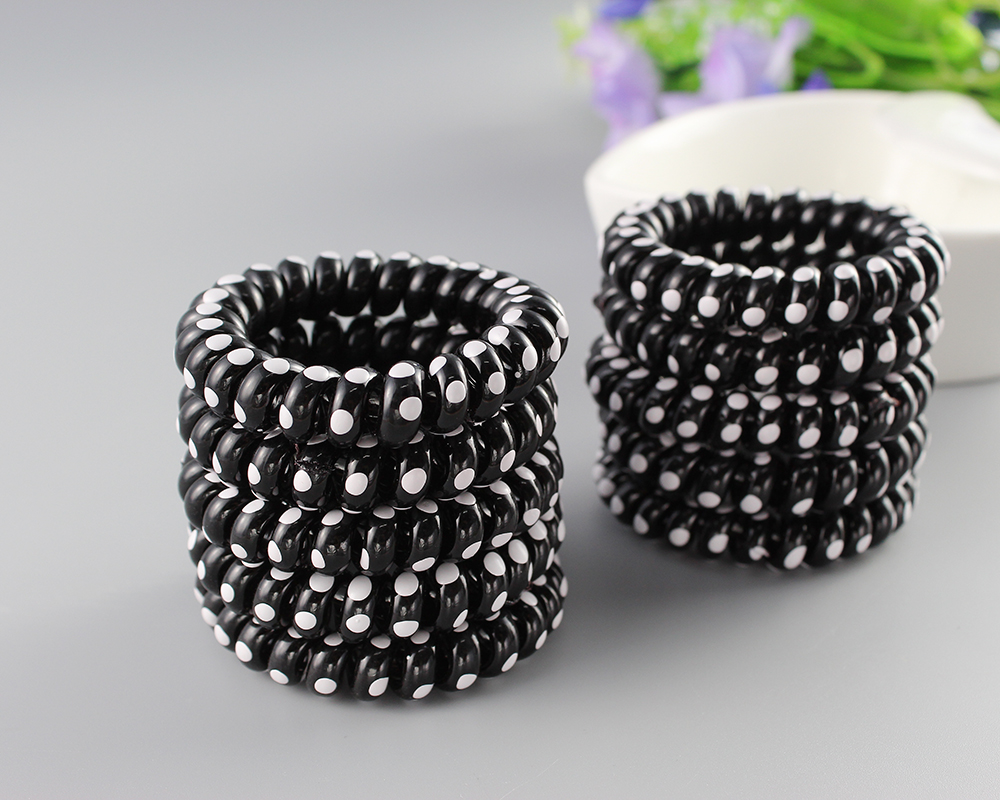 New Women Headdress Head Flower Hair Accessories Hair Ring Telephone Wire Bracelet Black Color Hair Rope-in Hair Accessories from Women\'s Clothing & ...