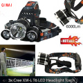CREE XM-L 3x T6 3 Modes 6000LM Headlamp Head Light + 2x18650 + Car Charger+EU/US Charger LED Flashlight